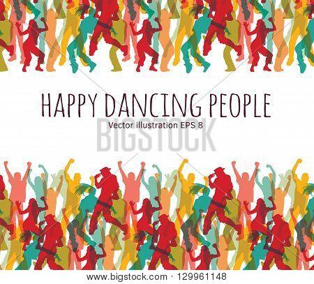 Happy dancing people background frame.  Color vector illustration. EPS8