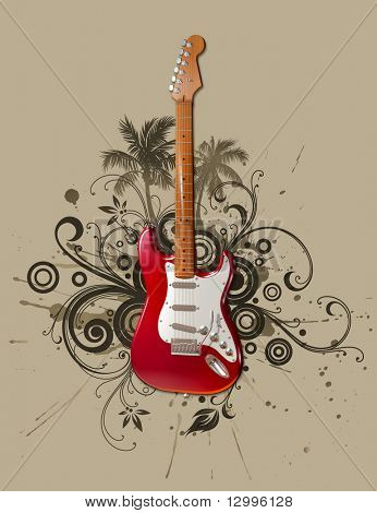 Rock guitar on grunge floral background