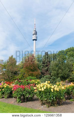 DORTMUND GERMANY - OCTOBER 4 2015: Florianturm (Florian Tower) in the Westfalen park. Built in 1959 it has a height of 720 ft (219.6m).