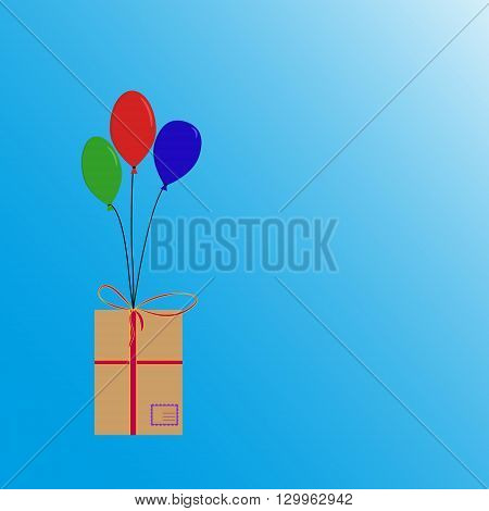 Balloons flying with box with post stamp and ribbons. Red, green, blue balloons flying with box.