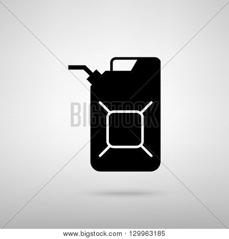 Jerrycan oil sign. Jerry can oil sign. Black with shadow on gray.