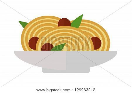 Spaghetti with tomato sauce on white background. Sauce italian dinner pasta dish and lunch plate pasta dish. Pasta dish tomato cuisine spaghetti and pasta dish delicious cheese gourmet healthy.