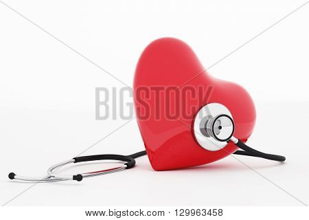3D rendering of stethoscope and red heart