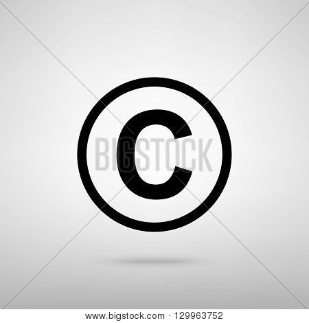 Copyright sign. Black with shadow on gray.