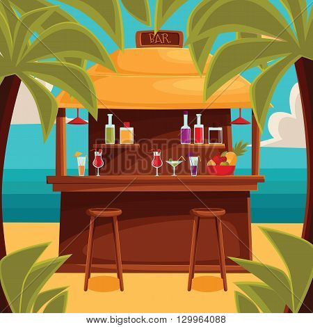 Beach bar on plage, summer barroom on vacation, cocktails on the sea with palm trees and water, ocean garizont visible for summer cafe, color illustration. variety summer drinks at the counter