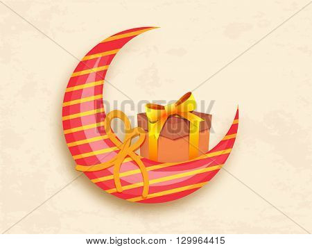 Creative Glossy Crescent Moon with wrapped gift box for Islamic Famous Festival, Eid Mubarak celebration.