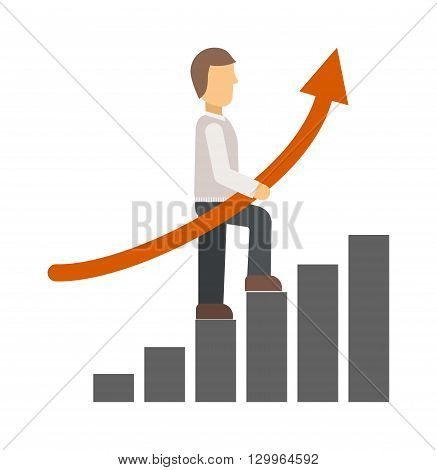 Business growth arrow step staircase infographics. Vector illustration business growth. Business growth workflow layout number options, step up options. Business growth web design diagram concept.
