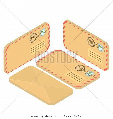 Isometric envelope yellow. Envelope icon, mail and open envelope, envelope template, Flat 3d isometric concept illustration.