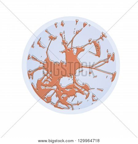 Cancer cell in flat style. Bacteria, disease, pathogen, germ, bacterium HIV and virus. Vector illustration.