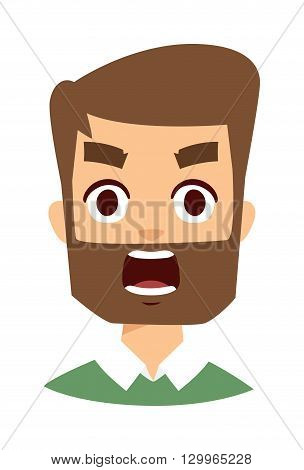 Portrait normal man angry face looking furious. Young man angry face screaming and cartoon angry face character. Angry face vector character and angry face mad adult furious male emotion.