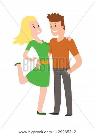 Happy smiling couple in love character vector illustration and young couple in love. Romance couple in love and happy adult couple in love. Couple in love cheerful girlfriend kiss outdoors valentine.