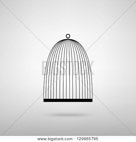 Bird cage sign. Black with shadow on gray.