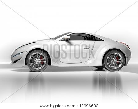 Sportwagen, isolated on white Background. Mein eigenes Auto-Design. Keine Marke zugeordnet.