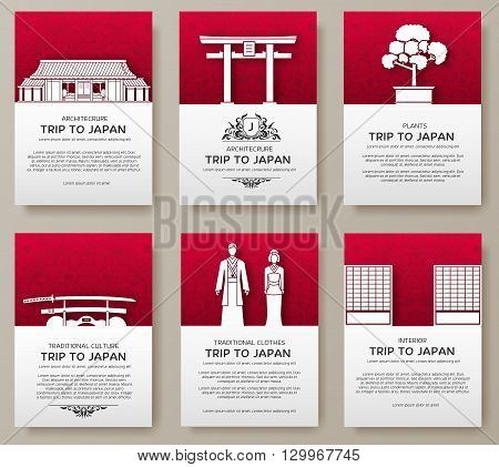 Set of Japan country ornament illustration concept. Art traditional, poster, book, poster, abstract, ottoman motifs, element. Vector decorative ethnic greeting card or invitation design background.