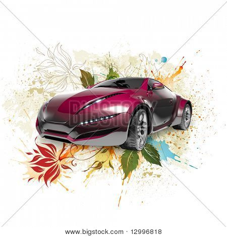 Car on the floral background. My own car design.