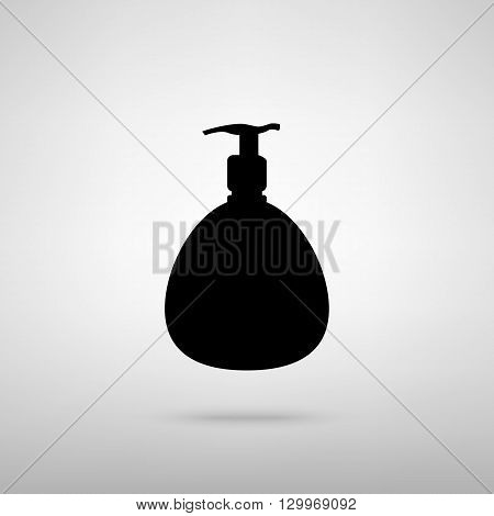 Gel, Foam Or Liquid Soap Dispenser Pump Plastic Bottle silhouette. Black with shadow on gray.