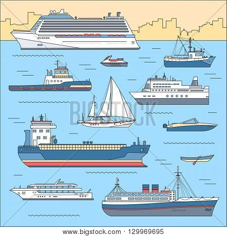 Set of flat yacht, scooter, boat, cargo ship, steamship, ferry, fishing boat, tug, bulk carrier, vessel, pleasure boat, cruise ship with blue sea background concept. Vector thin lines style design
