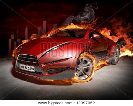 Red sports car.  Burnout. My own car design.