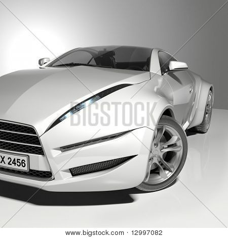 Sports car isolated on white background.  My own car design - the use of this image not require additional rights.