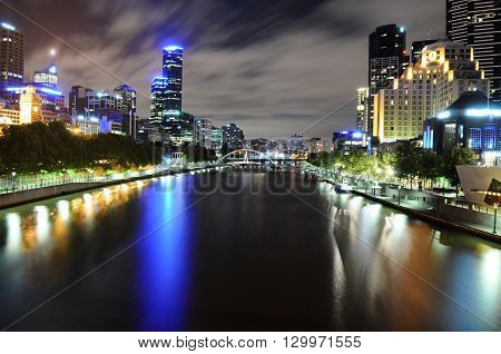View Of Skyline And Yarra River In Melbourne Cbd At Night