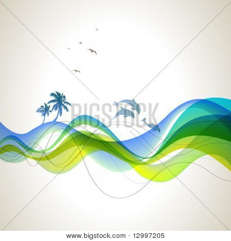 Waves, palms, dolphins