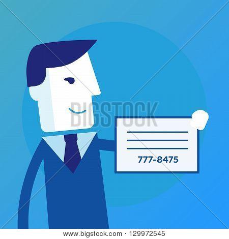 Businessman shows a business card vector eps10