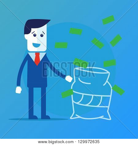 Businessman in a suit catching money vector eps 10