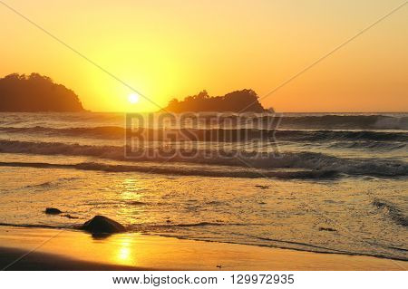 Sunset in the Pacific Ocean. Philippines. Islands.