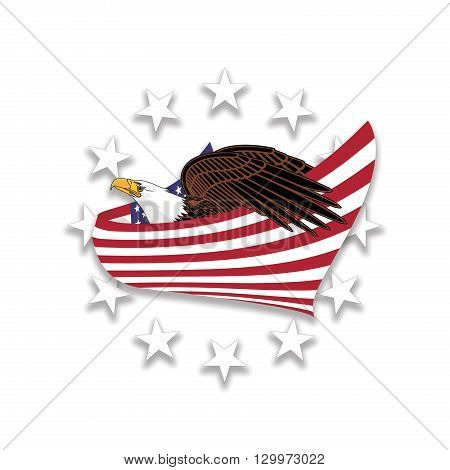 Illustration featuring a Bald Eagle wrapped in the American flag and surrounded by stars