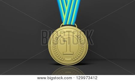 3D rendering of Close-up of golden first place medal on black background