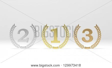 3d rendering of first,second and third places on white background