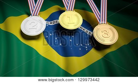 3D rendering of Three winner medals on Brazil flag