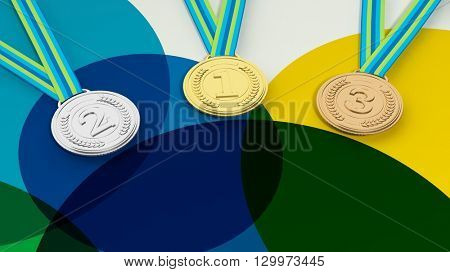 3D rendering of Close-up of three medals for first,second,third places on colorful background