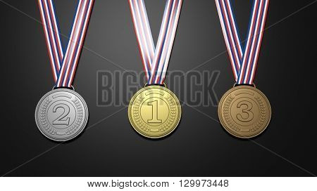 First,second and third places medals on black background.3D rendering