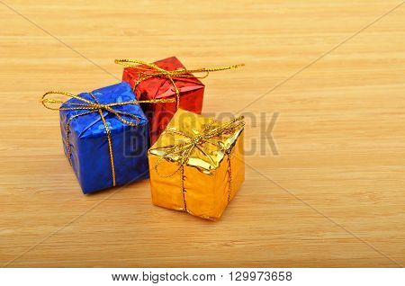 Christmas decoration gift box on wooden background