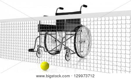 3D rendering of wheelchair behind tennis net with yellow ball on other side