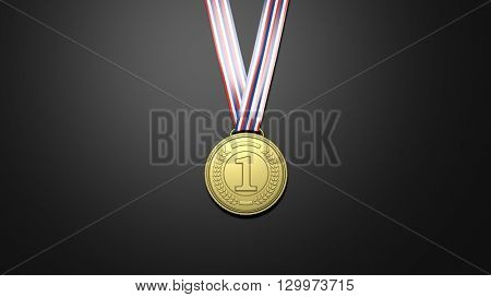 3D rendering of golden first place medal on black background
