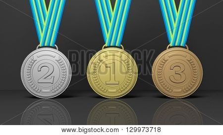 3d rendering of winner medals on black background