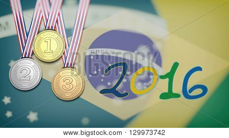 3D rendering of Three medals against of Brazil flag with 2016 year