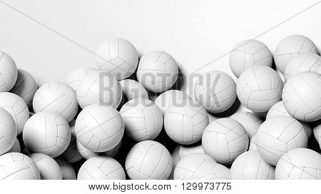 3D rendering of Many volleyballs on white background
