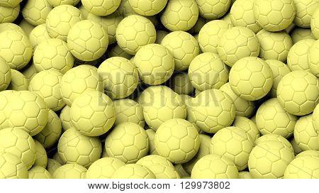 3D rendering of Close-up of Handball balls background