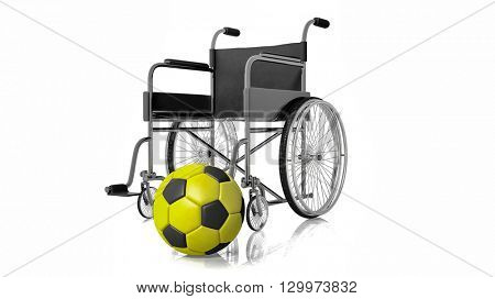 3D rendering of Bright yellow and black football and wheelchair.Isolated