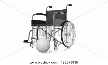 3D rendering of Wheelchair near white volleyball on white background.Isolated.