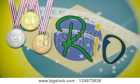 3d rendering of three medals and RIO text on Brazil flag