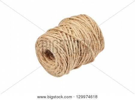 Natural jute rope isolated on white background