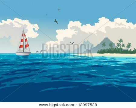 Tropical paradise. Turquoise ocean, tropical island, palm trees, white sand beach, yacht, seagulls, dolphins
