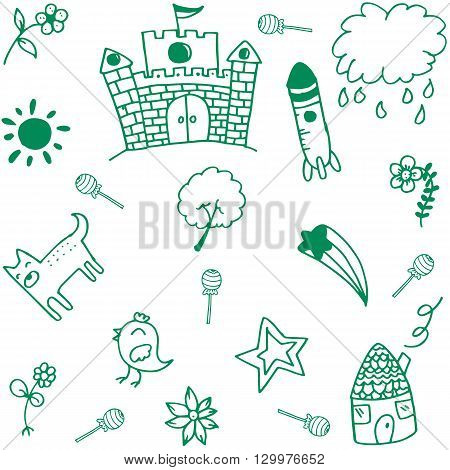 Green palace doodle art funny for kids