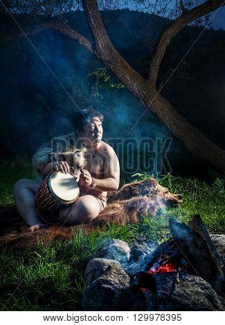 Caveman Playing Drum
