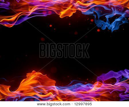 Blue and red fire background
