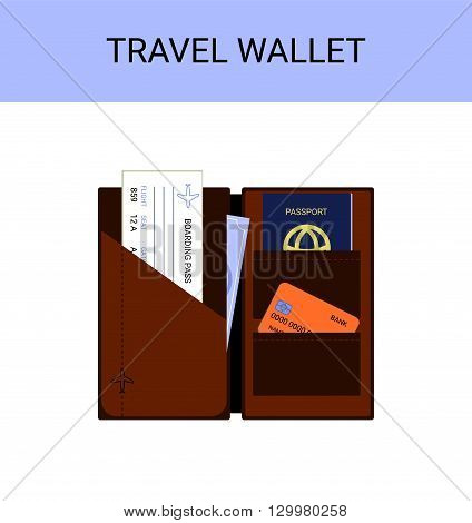 Travel wallet with passport, money, boarding pass, vector illustration